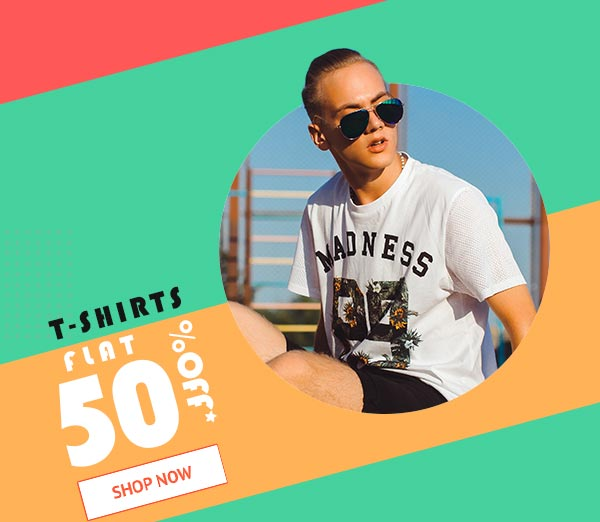 T-Shirts Flat 50% Off